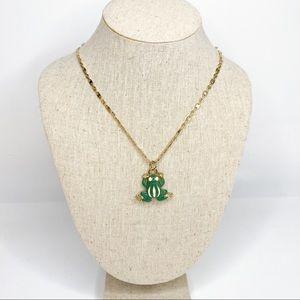 J Crew Enamel Frog Pendant Necklace